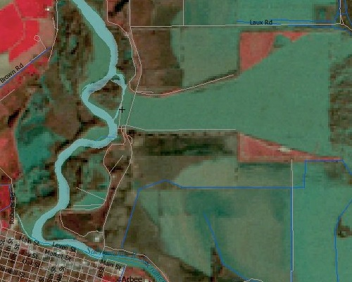 LANDSAT image of Colusa Bypass after 1997 floods
