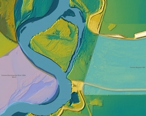 LIDAR terrain model of Colusa Bypass